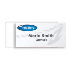 Self-adhesive name badges