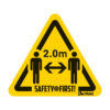 Safety floor marking stickers - keep social distance - yellow-black - 150-x-170-mm - 2m - netherlands