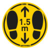 Safety floor marking stickers - foot steps - yellow-black - o-350-mm - 1-5m - netherlands