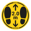 Safety floor marking stickers - foot steps - yellow-black - o-350-mm - 2m - netherlands