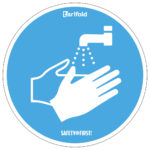 Sticker 'Wash your hands' - white-blue-floormarking - o-250-mm - 2 - netherlands