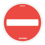 Anti-slip routing floor sticker 'No way through' - red-white - o-350-mm - 2 - netherlands
