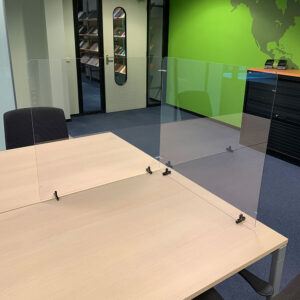 Modular desk top transparent protective screens Tarifold