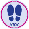 Floor stickers - Social distancing rules for shops - pink - o-350-mm - 2 - denmark