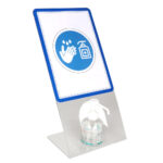 Crystal table-top gel dispenser stand with A4 Magneto Sign Holder - transparent - a4 - 2 - france